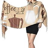 Lawenp Womens Scarf Pañuelo de manta larga para cafetera y taza para mujer, chales con borlas de moda, bufanda envolvente, cachemir suave, sensación cálida, invierno, Navidad, regalos divertidos