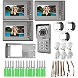 Sistema de teléfono con timbre con video, 3 unidades de apartamento Sistema de entrada con cámara de infrarrojos con timbre con videoportero de 7 pulgadas(EU Plug)
