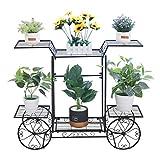 unho Estantería para Macetas de Hierro Soporte de Flores Plantas para Jardín Exterior Interior Estantería Decorativa con 6 Estantes 83 x 22 x 68.5cm