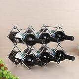 Delgeo Organizador de Almacenamiento de Estante de Vino Independiente de Metal para Encimeras de Cocina, Botellas de Vino, Cerveza, Gaseosas/Refrescos, 3 Niveles, Capacidad para 8 Botellas(Plata)