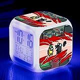 KFGJ Reloj Despertador Digital, Luz De Despertador con Alarma Pequeña, Reloj Despertador De Viaje, Reloj De Batería, Cambio De Color Colorido Regalo Among us C