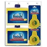 Finish Limpiamáquinas líquido para lavavajillas y Finish Ambientador para lavavajillas, aroma limón - Megapack 2 y 2 Unidades