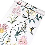 Vinilo autoadhesivo Vintage Floral Birds Muebles Etiqueta de papel tapiz de papel para paredes Cocina Backsplash Gabinetes Estantes Cómoda Cajón Decoración de mesa Extraíble Impermeable 45CMx3M