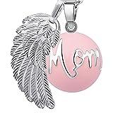 Bola colgante de embarazo armonía alarma bola'ángeles del Marcador' joya musical de maternidad las mujeres embarazadas con cadena de alas de ángel y Bola (114 CM, MOM-ROSE)