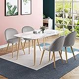 CLIPOP - Juego de 4 sillas de comedor de terciopelo con respaldo y patas de metal resistente de estilo de madera para salón, sala de estar, cocina, oficina y restaurante, Gris, 46*46*77 CM