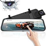Cámara de Coche 10' Mirror Dash CAM Espejo Retrovisor Pantalla táctil AZDOME 170 °1080P Front y 150 °720P Camara Trasera Visión Nocturna [ADAS] [Transmisión de Video] Modo de estacionamient