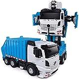 JIALI Vehículo RC, automóvil controlado de Forma remota Autobot One Button Deformation Control Remoto Ingeniería de Juguetes Coche Multifunción Luz de deformación Coche cumpleaños para niños