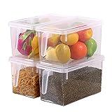 HapiLeap Organizador de Alimentos para Cocina/Congelador, contenedor Transparente con Tapa y Asa (4 Pack)