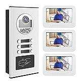 Eboxer Cámara de intercomunicación con videoportero de 7 Pulgadas Timbre de la Puerta Cámara RFID 3 Timbre de los Apartamentos (Blanco)