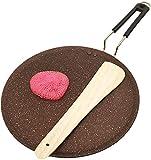 Sartén antiadherente Dosa con base de inducción Tawa antiadherente Dosa Tava plana compatible Plancha redonda Omelette sartén antiadherente Sartén para utensilios de cocina con mango fijo (285MM)