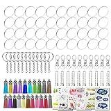 Allazone 106 Pz Discos Acrilicos Transparente, 40 Pz Discos de Acrílico Transparente Redondos, Llavero, Mini Borlas, Cadena de Bolas y Adhesivo para Proyectos y Manualidades de Bricolaje