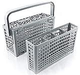 La cesta cubiertos lavavajillas original de Plemont® [23x8,5 & 4,5x13,5cm] Cesta de lavavajillas universal con una innovadora solución 2 en 1- Cesta lavavajillas fabricado con plástico resistente