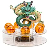 M C S Figura Dragon Shenron PVC Dragon Ball Z (Verde Natural) + 7 Bolas de Dragon 3,5 cm diametro + Estante Expositor DBZ Figura Coleccion Goku Dragon Ball Super Espectacular Akira