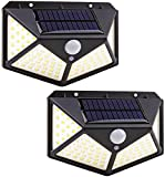 Luz solar LED exterior, focos solares de 100 LED de exterior con sensor de movimiento, 270º luces externas de energía solar impermeables con 3 modos – 2 unidades