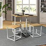 FURNISH 1 Juego de Comedor de 5 Piezas Mesa y taburetes Cuadrados, Juego de Mesa y sillas de Desayuno, Mesa de Oficina de Roble, Oficina en casa