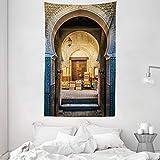 ABAKUHAUS Marroquí Tapiz de Pared y Cubrecama Suave, Típica Puerta Marroquí hacia Vieja Medina Mediterránea Arco Histórico Entrada Foto, No se Desliza de la Cama, 140 x 230 cm, Beige