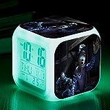 Superd Mesita de Noche para niños Reloj Despertador Digital LED luz de Noche Colorida Estado de ánimo Alarma Reloj Cuadrado Mudo con Puerto de Carga USB Viaje pequeño Reloj Despertador Regalo Q4232