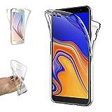 REY Funda Carcasa Gel Transparente Doble 360º para Samsung Galaxy J4 Plus 2018, Ultra Fina 0,33mm, Silicona TPU de Alta Resistencia y Flexibilidad