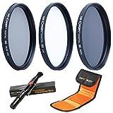 62MM UV CPL ND4 + Pluma de Limpieza + Bolsa para 3 Filtros, K&F Concept 62MM Kit Packs de Filtros UV Filtro Polarizador Filtro Densidad Neutra para Cámara Canon Nikon Sony Sigma Tamron