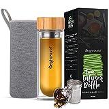 Botella Termo para Infusiones de Té con Filtro de Agua   500ml de Té   Doble Capa de Vidrio con Tapa de Bambú   Diseño Hermético Portátil Sin BPA   Para su dieta Detox Adelgazante   WeightWorld
