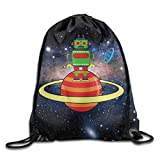 YuYfashions Space Robot Planet Training Gymsack Drawstring Backpack Beam Mouth Package A2161 Mochila con Lazo