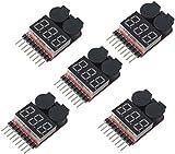 1-8s Probador de Voltaje de Batería Lipo, Alarma de Zumbador de Bajo Voltaje RC,Comprobador de Verificación de Monitor de Batería con Indicador LED para Lipo Li-Ion LiMn Li-Fe por Poweka(5 Pizeas)