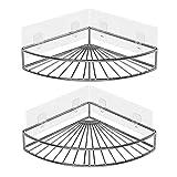 Oriware Adhesivo Estantería de Esquina para Ducha Baño Triangular Organizador Acero Inoxidable Sus 304 Sin Perforar - Pack de 2