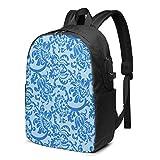 WEQDUJG Mochila Portatil 17 Pulgadas Mochila Hombre Mujer con Puerto USB, Diseño de Papel Tapiz Floral Azul Mochila para El Laptop para Ordenador del Trabajo Viaje