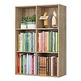 Homfa Estantería Librería Estantería para Libros Estantería de Pared Estantería Almacenaje con 6 Compartimentos Roble 65.5x29.5x97cm