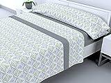 Cabello Textil Hogar - Juego de sábanas térmicas de Pirineo - 3 Piezas - 110 Gr/m2 - Mod. Leilan (Gris, 150_x_190/200 cm)