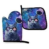 uytrgh - Juego de manoplas para cocina, diseño de galaxia voladora con gato divertido y resistente al calor