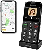 Prime-A4 Smart Teléfono Móvil para Mayores con Botón GPS SOS y Base cargadora (Negro)