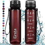 Grsta Botella Agua - Botella de Agua Deportes 500ml Botella Deportiva Tritan de Plástico Sin BPA con Filtro & Marcador de Tiempo para Niños y Adultos, Hogar y Exterior