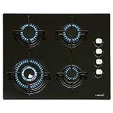 CATA | Modelo CIB 6031 BK | Encimera de gas butano 4 Fuegos | Cocina de gas | Ancho de 59cm | Parrillas/Quemadores hierro fundido | Potencia 8 kW