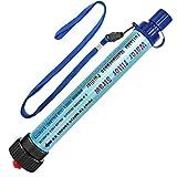 DeFe Filtro de Agua 2000L Personal Sistema de Filtración de Agua 0.01 Micron Mini Purificador de Agua Portátil para Excursionismo Campamento Acampada Supervivencia y Emergencias (Azul 1 Pack)