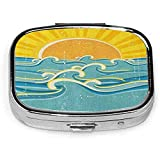 Square Pill Case With 2 Compartment Portable For Pocket Purse Travel Blue Surf Sea Waves Yellow Sun On Old Vintage Ocean Rays Summer