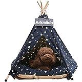 Arkmiido Tienda para Mascotas con Cama, Casa de Lona para Perros y Gatos, Tipi para Mascotas con cojín de 60 cm, Bajo Techo, en exteriors. (Azul)