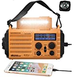 Radio Solar, Radio de Emergencia Portátil con Manivela, Radio Dynamo Weather Am/FM/SW, Cargador de Teléfono USB, Linterna LED y Luz de Lectura, Alarma SOS, Brújula para Acampar al Aire Libre