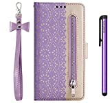 JAWCASA Funda para Samsung Galaxy A60 / M40, PU Cuero Slim Case de Estilo Billetera Carcasa TPU Silicona Case [Cremallera de Encaje] Interna Suave [Soporte Plegable Función] Funda (Púrpura)