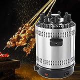 Parrilla de Barbacoa Vertical Giratoria, Parrilla de Barbacoa Eléctrica Multifuncional con Temporizador para Shish Kebab, Tacos, Verduras, Carnes y Pescados(EU Plug 220V)