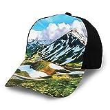 JONINOT Hombres Mujeres Gorra de béisbol Ajustable Sombrero Acuarela Impresión de Arte de una Cordillera de Picos Cubiertos de Nieve y Nubes