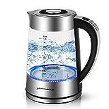 Sunix Hervidor de Agua Eléctrico, Hervidores de Cristal y Calentador de café con luz indicadora de LED Azul, 0.5L-1.8L Elemento Calentador de 2000W Hierva con Multifuncional