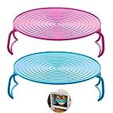 YCZCHE14 Soportes para Platos al Vapor Microondas Rejillas de Comida al Vapor Microondas Horno Bandeja Plegable Rejilla de Vapor Accesorio de Cocina para Horno Refrigerador Azul Rosa 2 Piezas