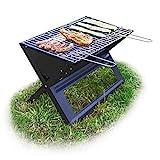 Relaxdays Barbacoa portátil con Parrilla de carbón y Rejilla, Plegable, Pícnic y Camping, 30x45,5x30cm, Negro