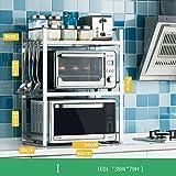 ZXCC Acero Inoxidable Estantería Microondas Encimera, Cocina Estantes Sencillo Soportes Utilidad Estantes Horno Estantería De Cocina Especia Almacenamiento Metálico Marco Organizador-i-Gris 3-Niveles