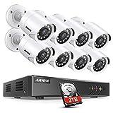 ANNKE Sistema de Seguridad 5MP Lite H.265+ 8CH DVR de Vigilancia con HDD 2TB+CCTV 8 Cámaras de Videovigilancia,Detección de Movimiento,Visión Nocturna de 100 Pies,IP66 Impermeable
