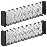 mDesign Juego de 2 separadores de cajones Regulables – Práctico Organizador de cajones para Armario de Cocina – Versátil Divisor de cajones Hecho de plástico – Gris Oscuro/Negro
