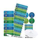 Pack 155 etiquetas personalizadas para marcar ropa y objetos. 100 Etiquetas de tela termoadhesiva + 55 etiquetas adhesivas de vinilo. (Color 5)