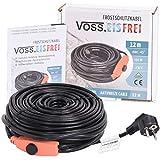 Cable calefactor con protección contra heladas (12 m, con termostato de botón, sin VOSS, 230 V, cable calefactor para proteger tuberías de agua y bebidas de pastos
