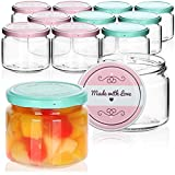 com-four® 12x Tarros de Cristal para Conservas con Tapa de Rosca'Made with love' - TO Ø 82 mm - 260 ml
